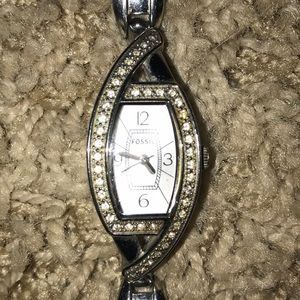 Women's Fossil watch silver with rhinestones